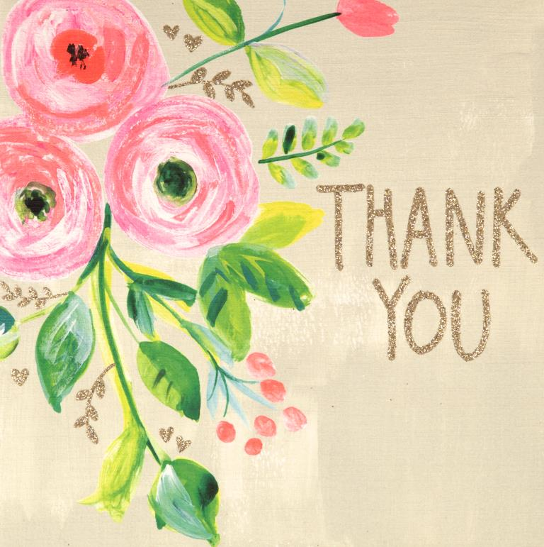 Neon Pink Flower Thank you Card