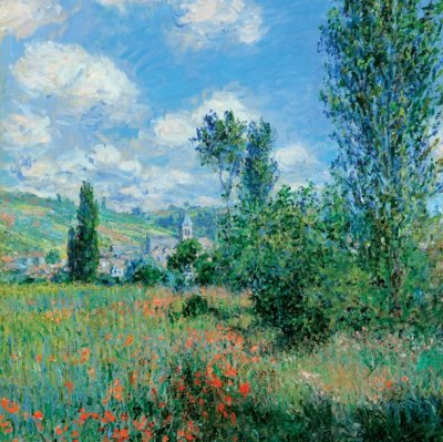 View of Vetheuil by Monet Greeting Card
