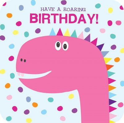 Pink Dinosaur Birthday Card Pack (5)