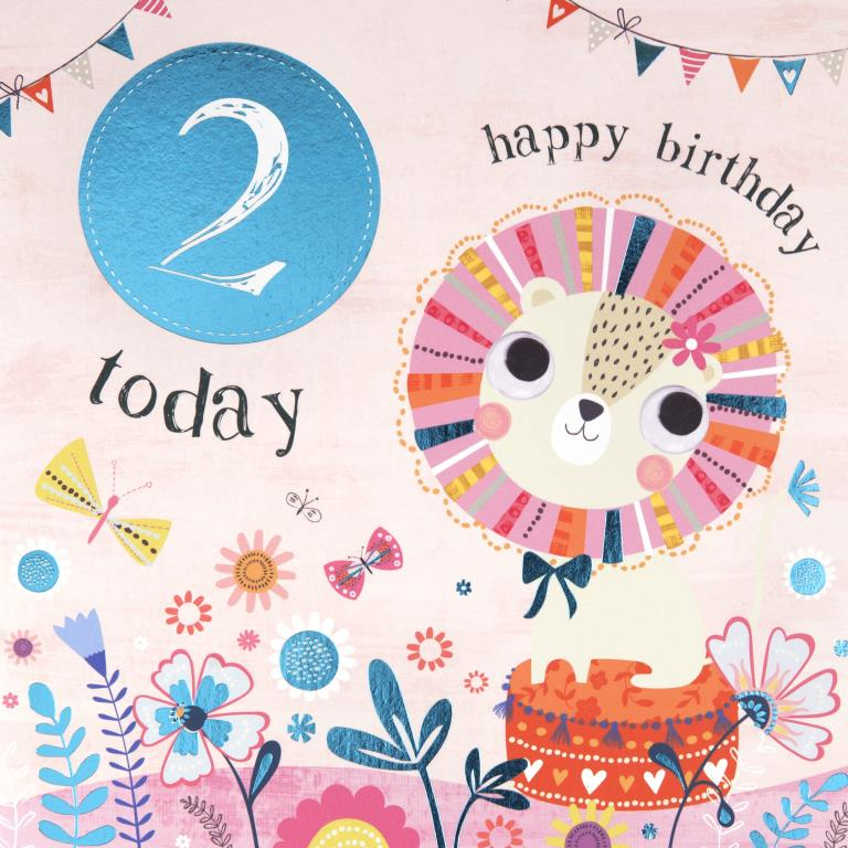 Floral Lion 2nd Birthday Card