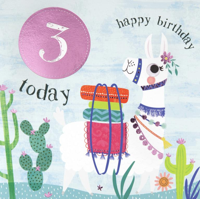Little Llama 3rd Birthday Card