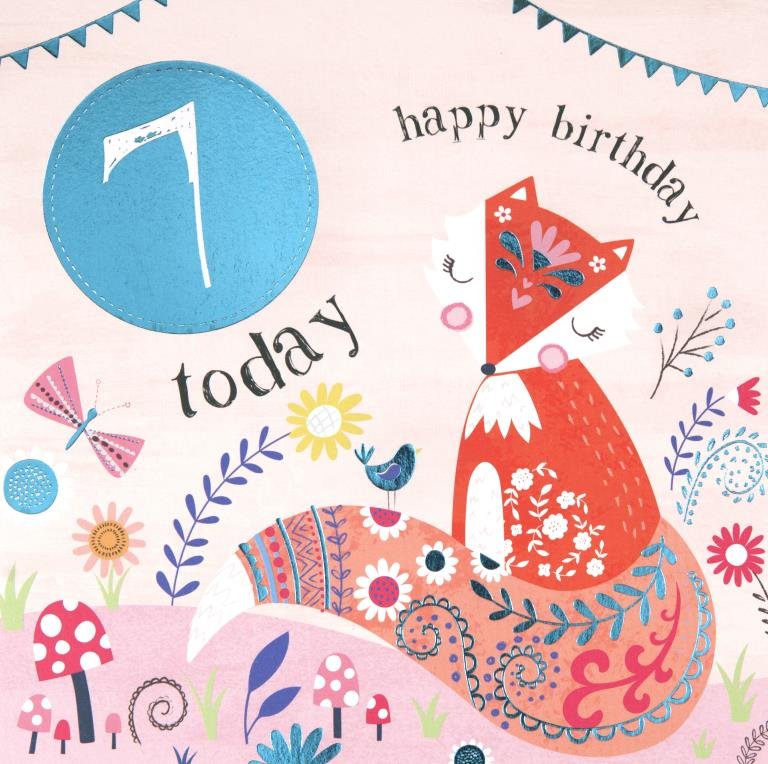 Little Fox 7th Birthday Card