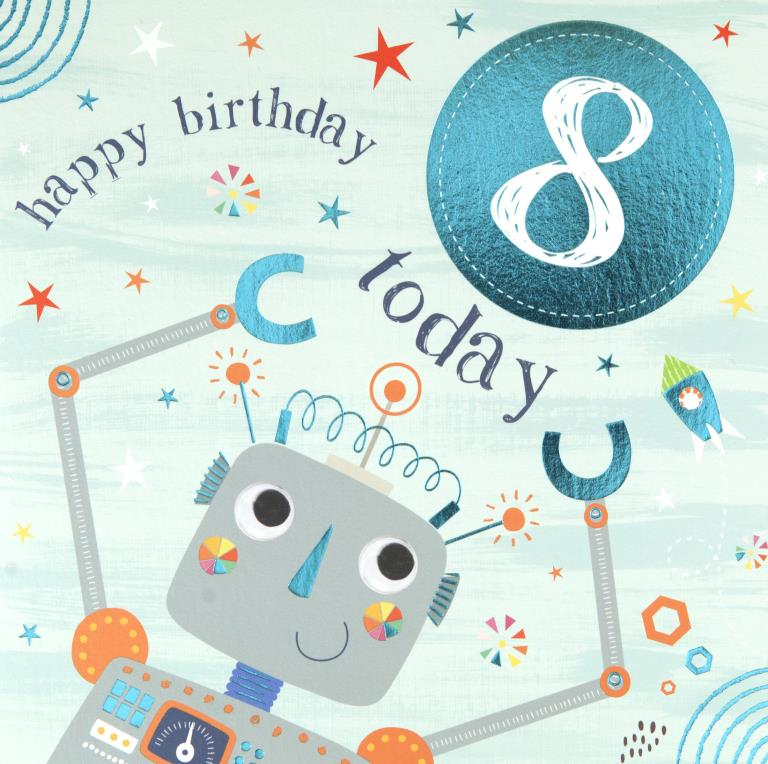 Little Robot 8th Birthday Card