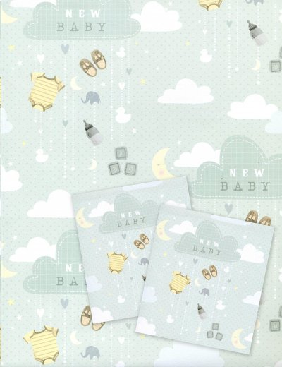 New Baby Boy Wrapping Paper 2 Sheets and 2 Tags