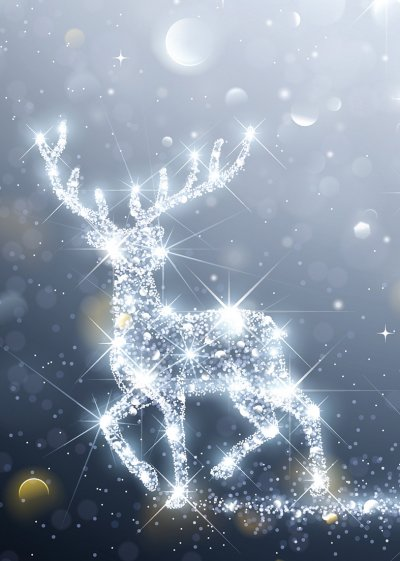 Illuminating Stag Personalised Christmas Card