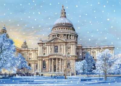 St Paul's Cathedral in Winter Personalised Christmas Card