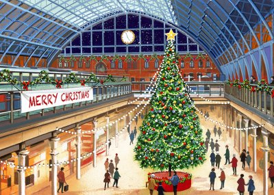 St Pancras Station Personalised Christmas Card