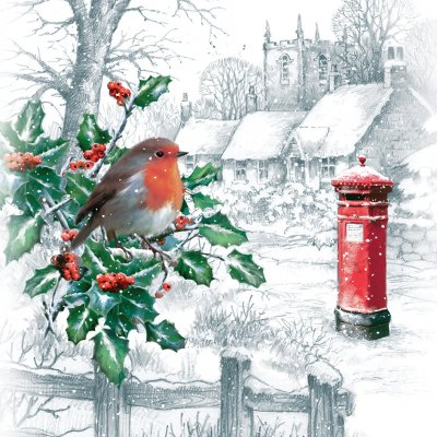 Robin With Holly Berries Personalised Christmas Card
