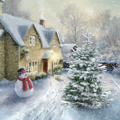 Snowman Cottage Personalised Christmas Card