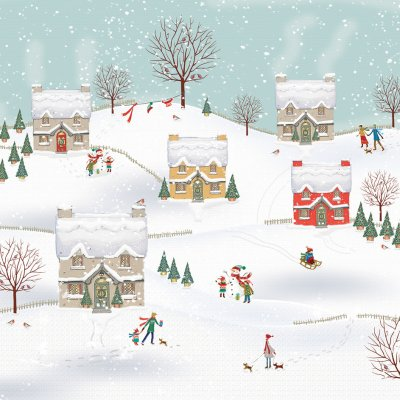 Snowy Cottages Personalised Christmas Card