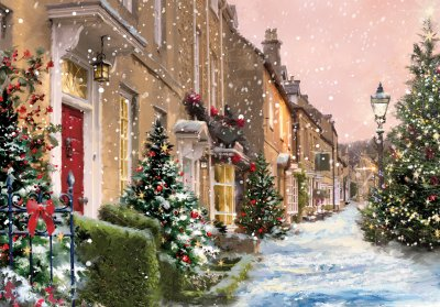 Festive Street Personalised Christmas Card