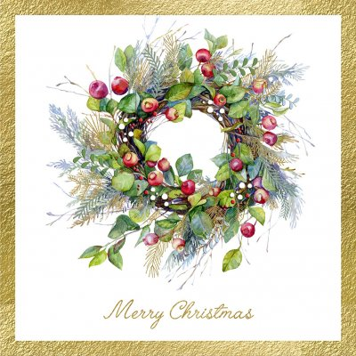 The Berry Wreath Personalised Christmas Card