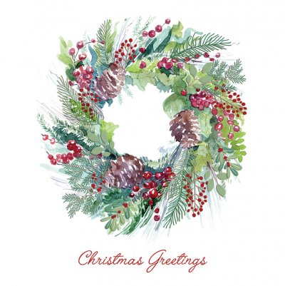 Watercolour Wreath Personalised Christmas Card
