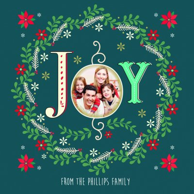 Christmas Joy Front Personalised Christmas Card