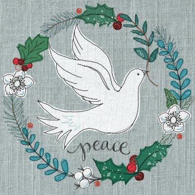 Dove in Wreath Personalised Christmas Card