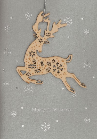 Wooden Reindeer Christmas Card