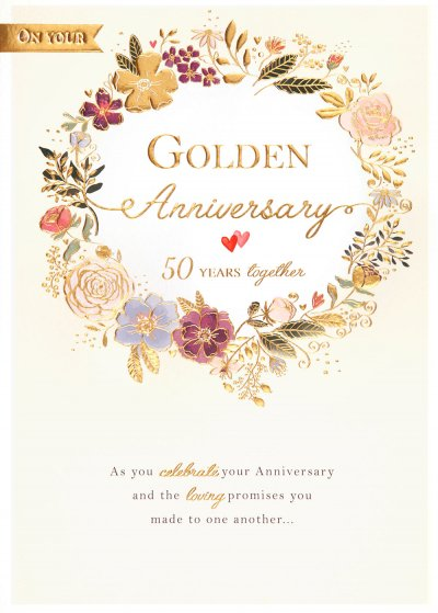 Floral Wreath Golden Anniversary Card