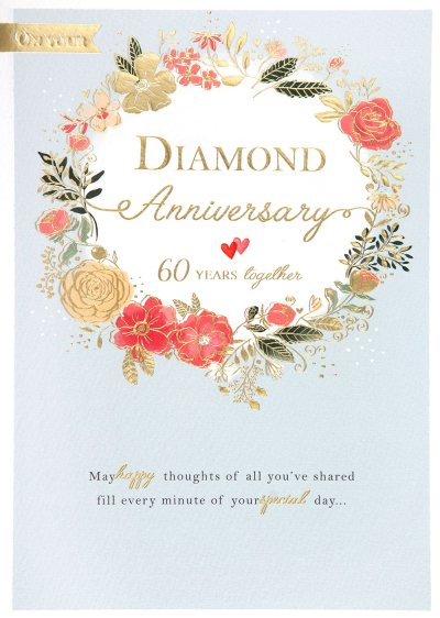Floral Wreath Diamond Anniversary Card