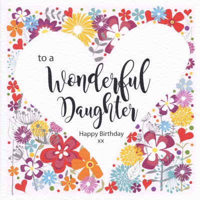 Floral Heart Daughter Birthday Card