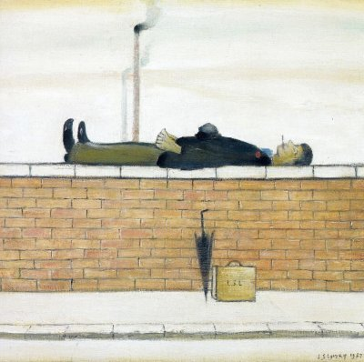 Man Lying on a Wall Greeting Card