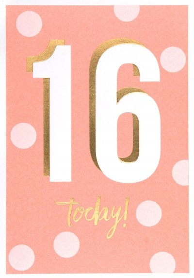 Pink Dots 16th Birthday Card