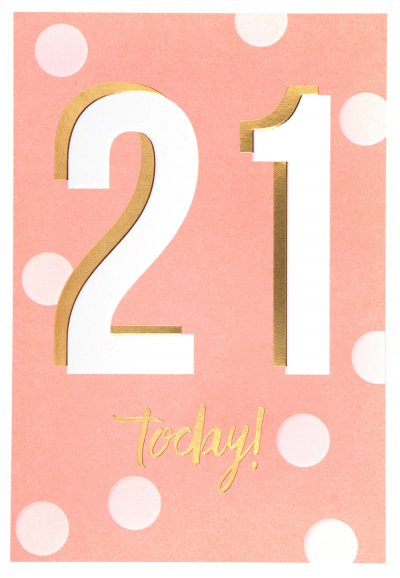 Pink Dots 21st Birthday Card