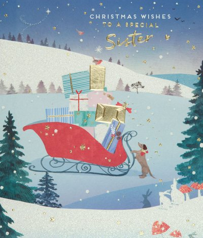 Sleigh Ride Sister Christmas Card