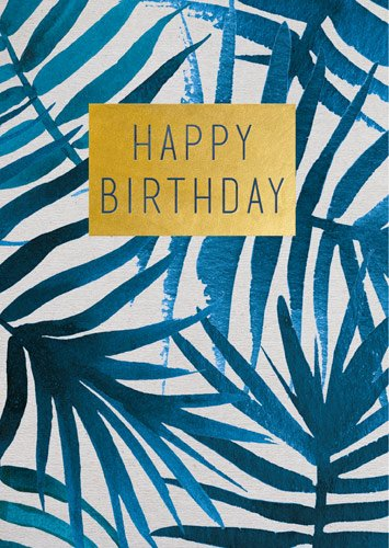 Blue Leaves Birthday Card