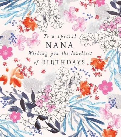 Floral Nana Birthday Card