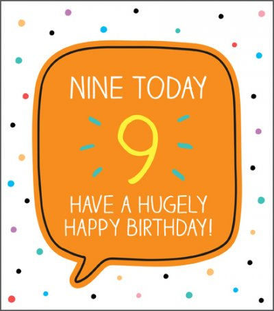Huge Happy 9th Birthday Card