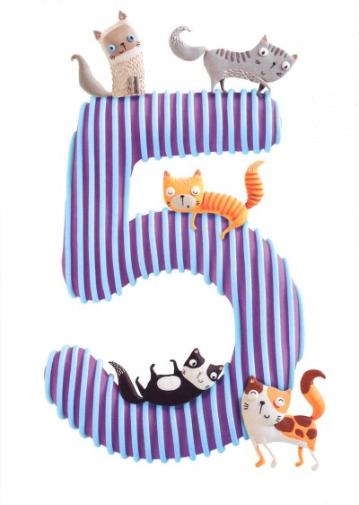 Cats 5th Birthday Card