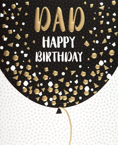 Gold Balloon Dad Birthday Card