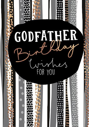 Copper Stripes Godfather Birthday Card