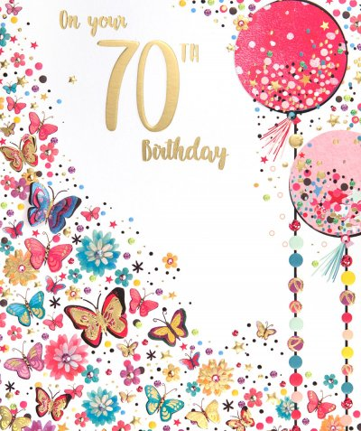 Butterflies and Balloons 70th Birthday Card