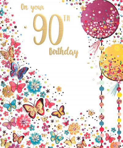 Butterflies and Balloons 90th Birthday Card