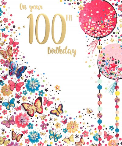 Butterflies and Balloons 100th Birthday Card